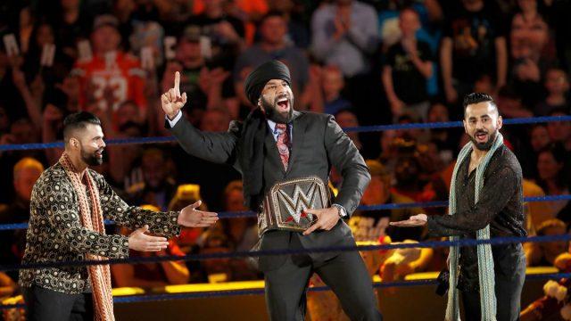 Jinder Mahal's WWE Championship celebration